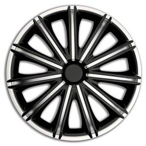 4 delig wieldoppenset Nero zilver/zwart 18 inch