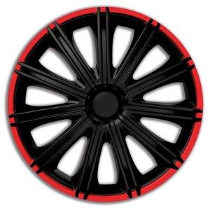 4 delig wieldoppenset Nero zwart/rood 18 inch