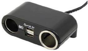 Aanstekerplug 2 weg + USB